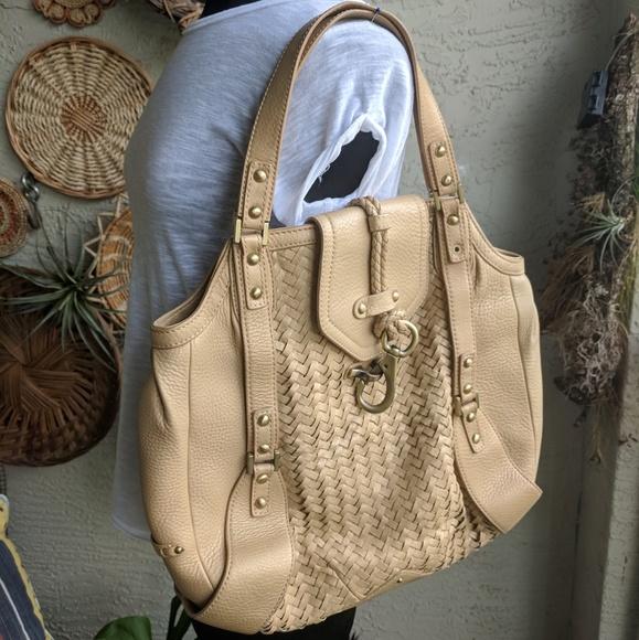 Cole Haan Handbags - Cole Haan gold woven big satchel